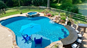 Custom Free Form Pool with Rock waterfall and Swim Up Bar