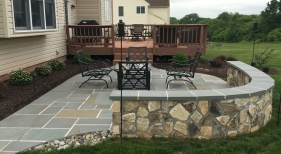 Masonry Blue Stone Patio with Veneer Sitting Wall - Skippack
