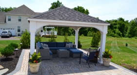 Techo Block Paver Patio with Antika Border Stone - Oaks