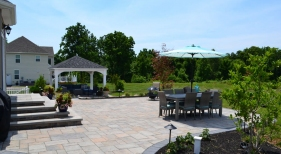 Backyard Paver Patio with Patio Cover