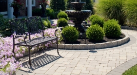 Front Pathway with Fountain and Landscaping